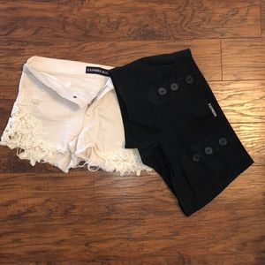 Two pair express shorts size 4